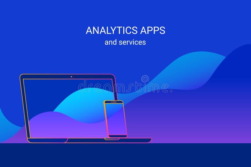 Analityka usługa dla, apps i i royalty ilustracja