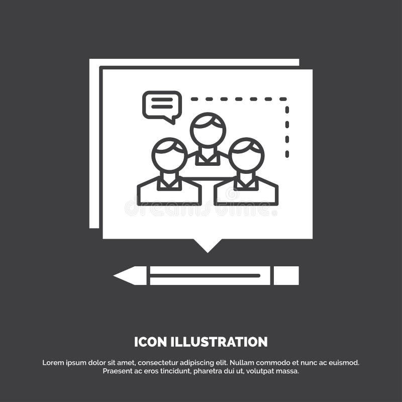Analiza, argument, biznes, przekonuje, debatuje, ikon? glifu wektorowy symbol dla UI, UX, strona internetowa i wisz?cej ozdoby za royalty ilustracja