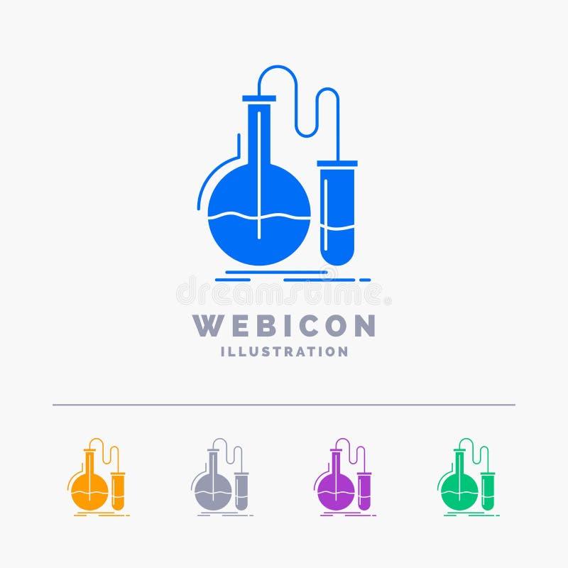 Analiza, chemia, kolba, badanie, testa 5 koloru glifu sieci ikony szablon odizolowywający na bielu r?wnie? zwr?ci? corel ilustrac ilustracji