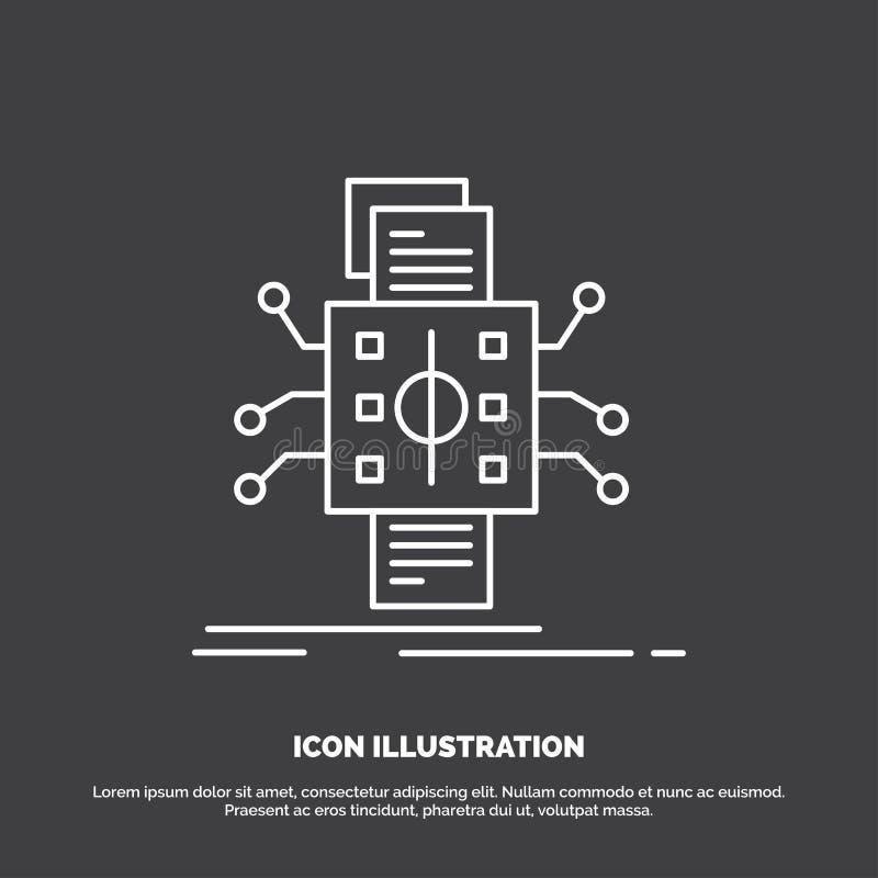 Analiza, dane, datum, przerób, reportaż ikona Kreskowy wektorowy symbol dla UI, UX, strona internetowa i wisz?cej ozdoby zastosow royalty ilustracja