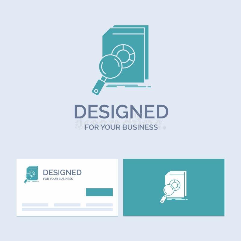 Analiza, dane, pieniężny, wprowadzać na rynek, bada, Biznesowego logo glifu ikony symbol dla twój biznesu Turkusowe wizyt?wki z g royalty ilustracja