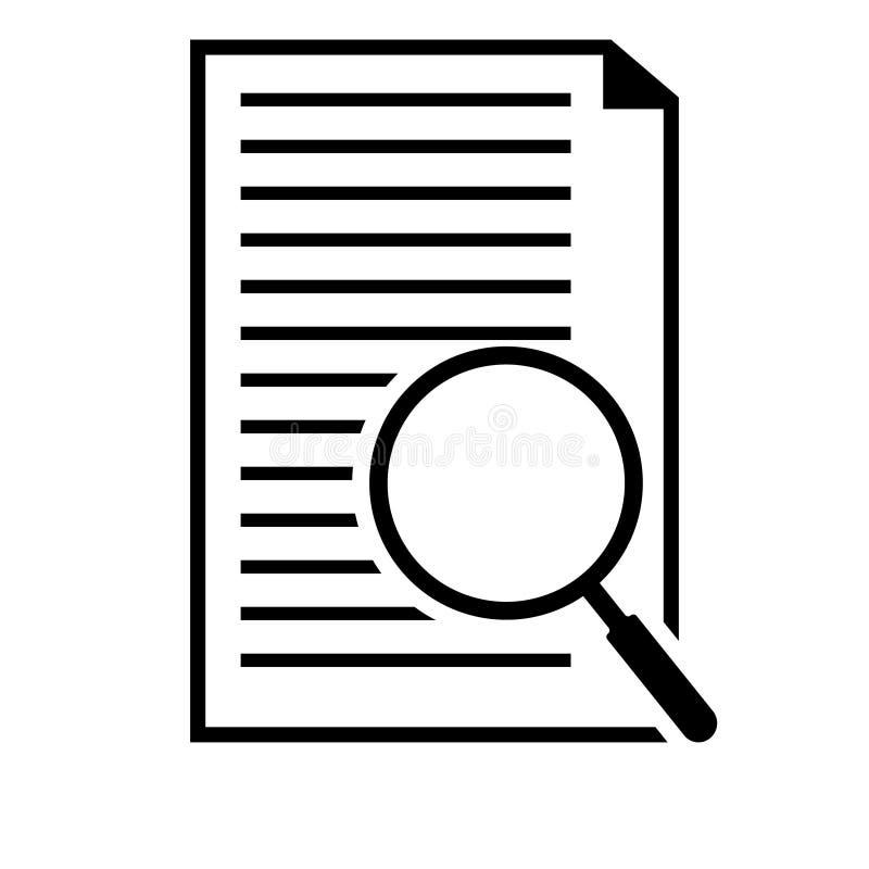 Analiza dokumentu planu ikona w mieszkanie stylu Przegl?dowego o?wiadczenia wektorowa ilustracja na bia?ym odosobnionym tle Dokum ilustracji