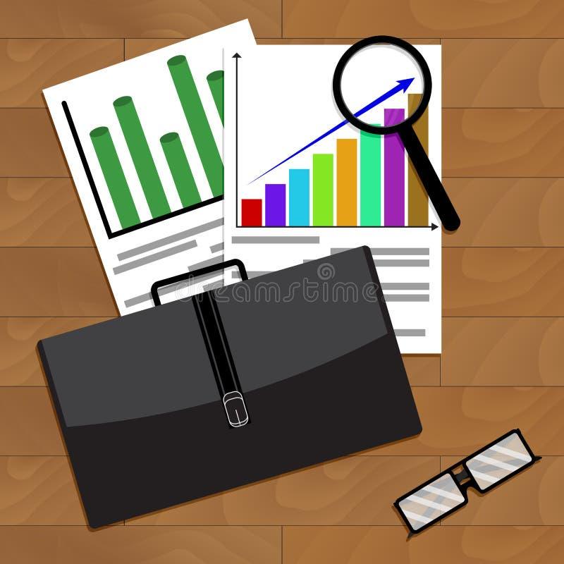 Analiza ekonomiczny przyrost w biznesie ilustracja wektor