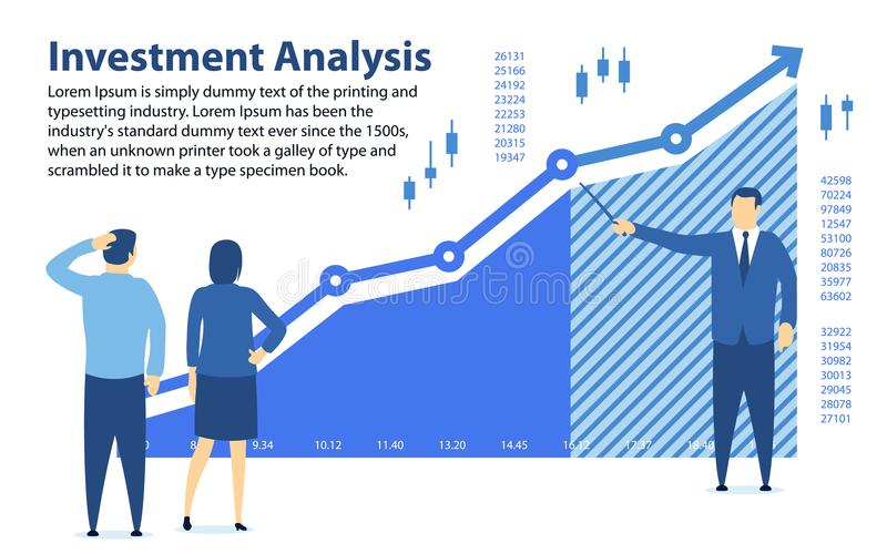 Analiza inwestycja Sztandar w płaskim stylu Uczyć pieniężną piśmienność Specjalista pokazuje zysku wykres Inwestycje fo royalty ilustracja