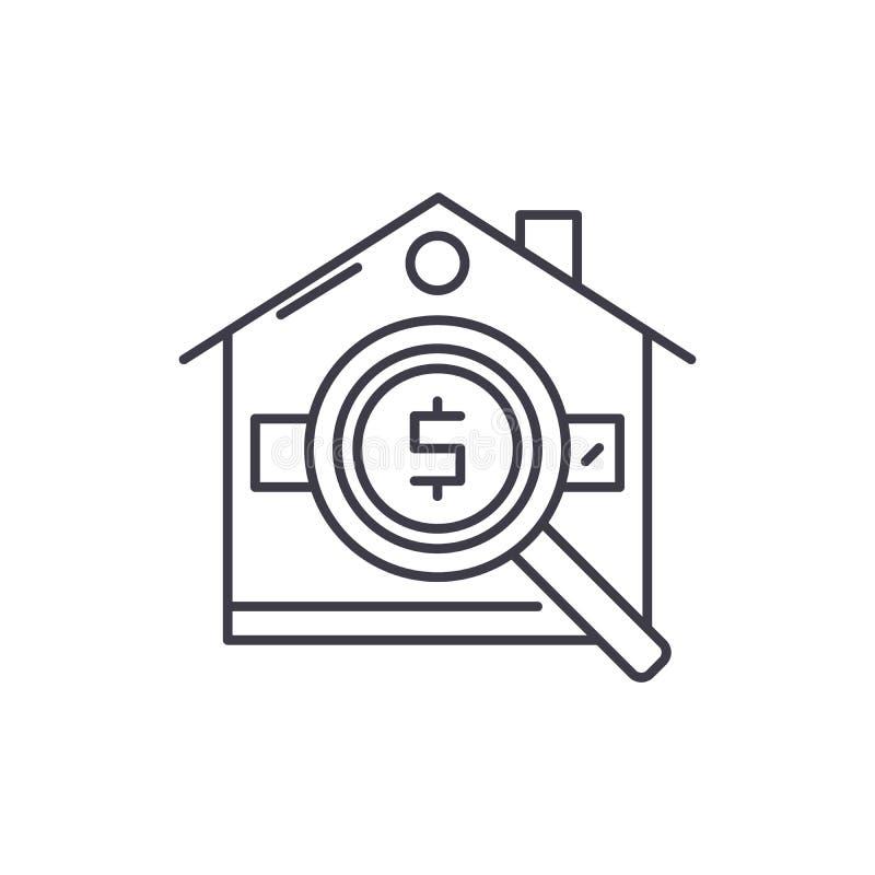 Analiza nieruchomości cen linii ikony pojęcie Analiza nieruchomość wycenia wektorową liniową ilustrację, symbol ilustracja wektor