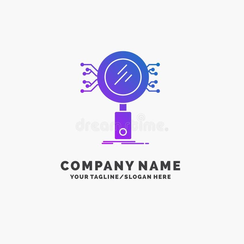 Analiza, rewizja, informacja, badanie, ochrona logo Purpurowy Biznesowy szablon Miejsce dla Tagline royalty ilustracja