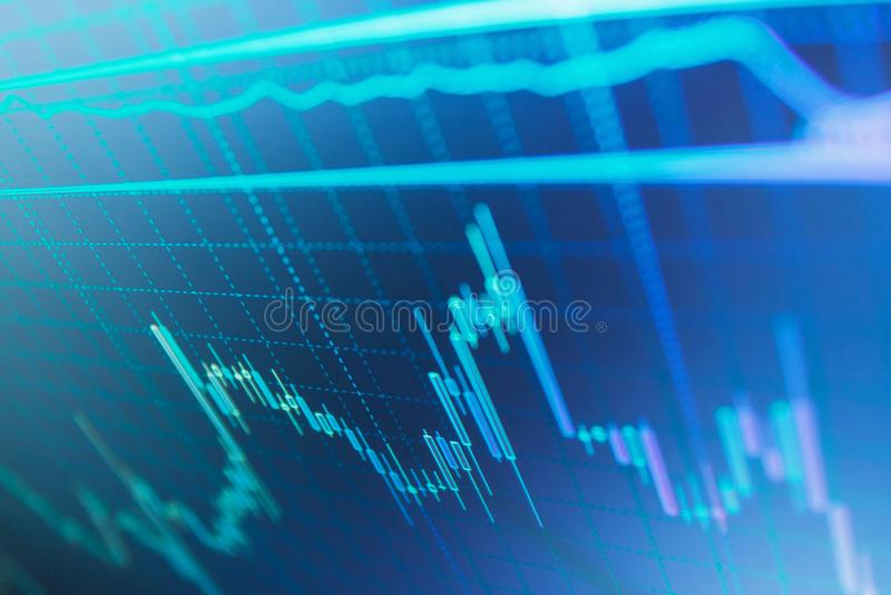 Analizar datos del mercado de acción sobre un monitor Datos grandes sobre el panel del LED libre illustration
