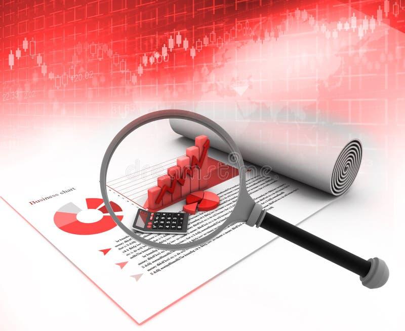Analizzare del grafico di crescita di affari illustrazione di stock