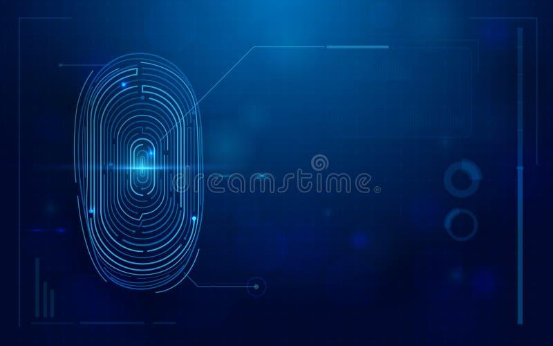 Analizzatore digitale futuristico astratto dell'impronta digitale concetto di sicurezza di tecnologia royalty illustrazione gratis