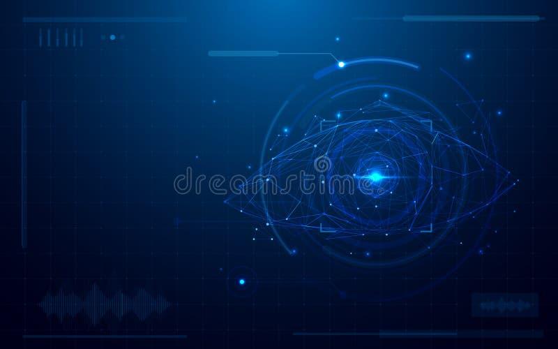 Analizzatore digitale futuristico astratto dell'occhio concetto di sicurezza di tecnologia su fondo blu illustrazione vettoriale