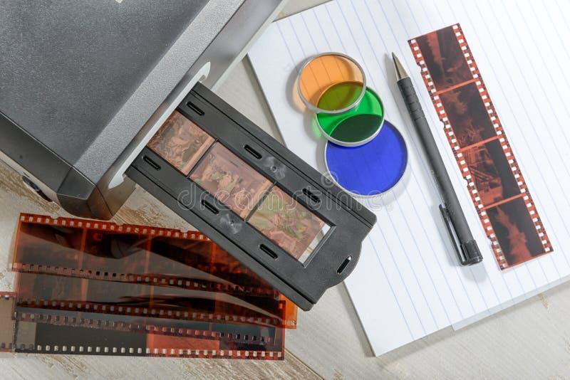 Analizzatore per il film e gli scorrevoli fotografia stock libera da diritti