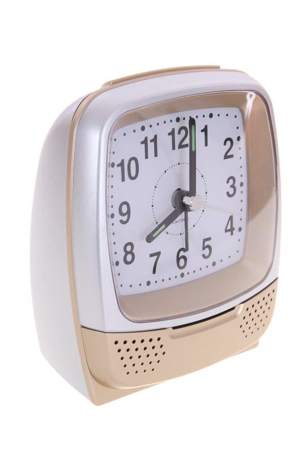 Analog alarm clock. Isolated on white background stock photos