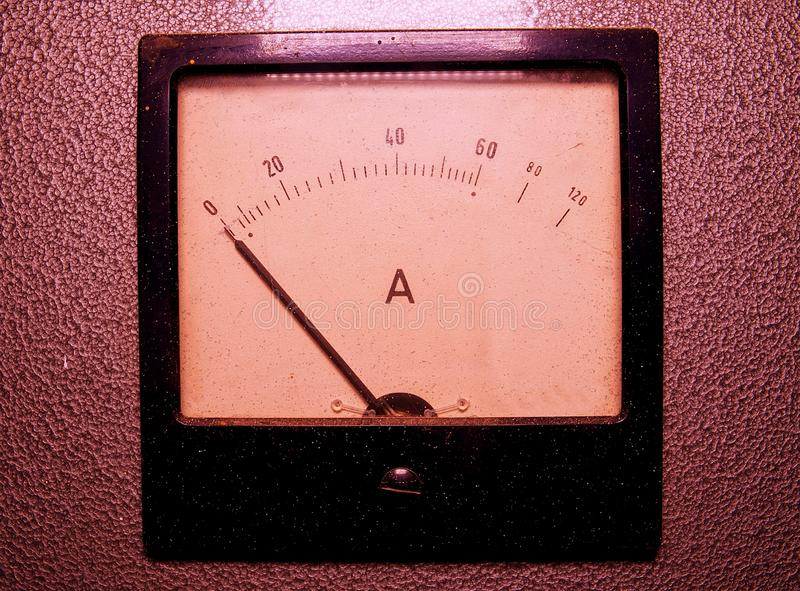 Analog ampere meter or amp meter. Close-up stock photos