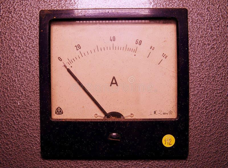 Analog ampere meter or amp meter. Close-up stock photo
