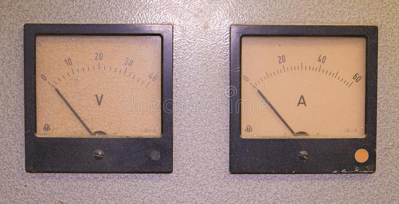 Analog ampere meter or amp meter and analog voltmeter royalty free stock photography