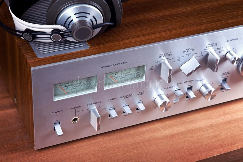 Analog Audio Stereo System Amplifier Headphones Speaker. Angled View from the Top stock images