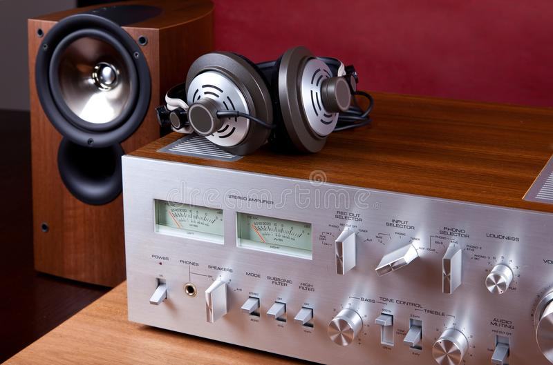 Analog Audio Stereo System Amplifier Headphones Speaker. Angled View from the Top stock photos