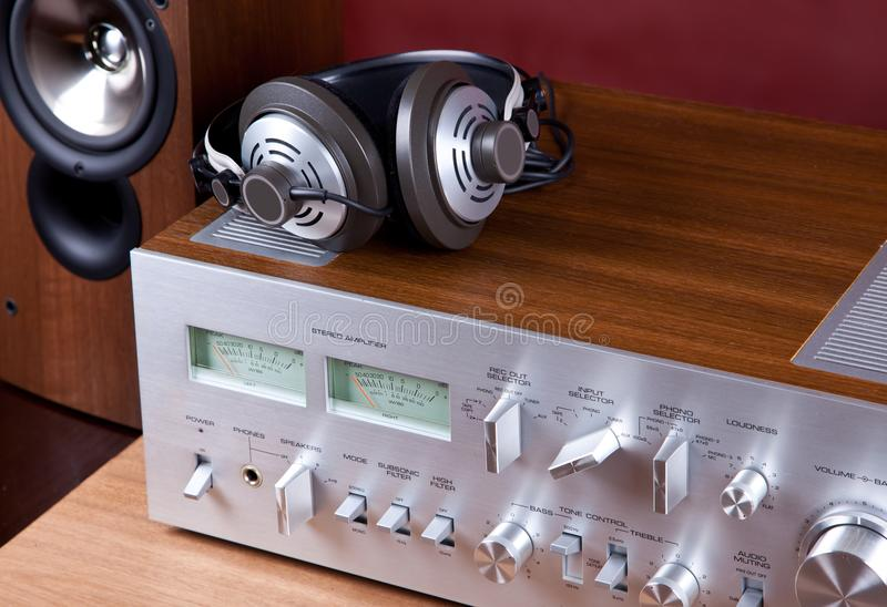 Analog Audio Stereo System Amplifier Headphones Speaker. Angled View from the Top stock image