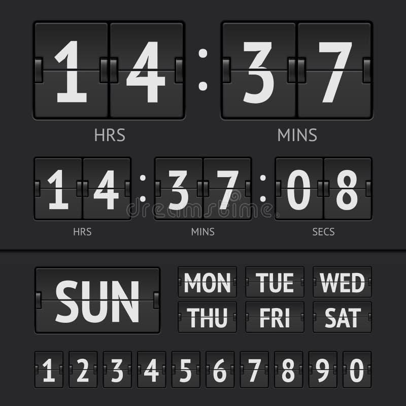 Analog black scoreboard. Digital week timer. Vector illustration royalty free illustration