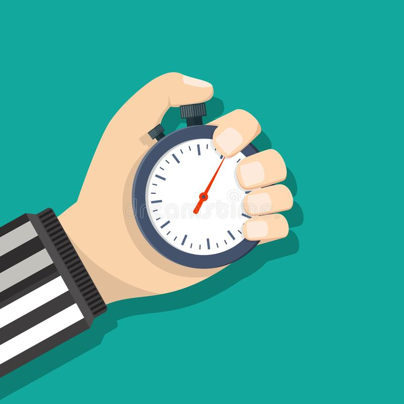 Analog chronometer timer counter in hand. Of referee, stopwatch. Vector illustration in flat style royalty free illustration