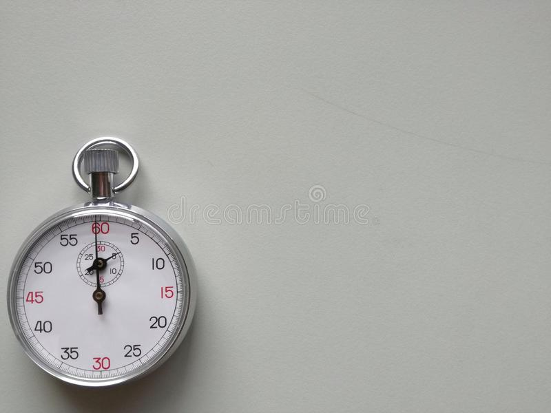 Analog classic stop watch used in labratory for science experiment stock images