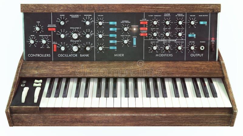 Analog classic synthesizer front view. Analog classic old synthesizer front view royalty free stock image
