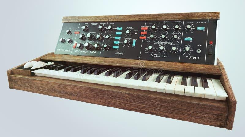 Analog classic synthesizer perspective. Analog classic old synthesizer perspective royalty free stock image