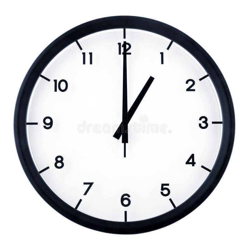 Analog clock. Classic analog clock pointing at 1 o`clock, isolated on white background stock photo