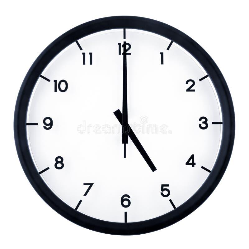 Analog clock. Classic analog clock pointing at 5 o`clock, isolated on white background stock image