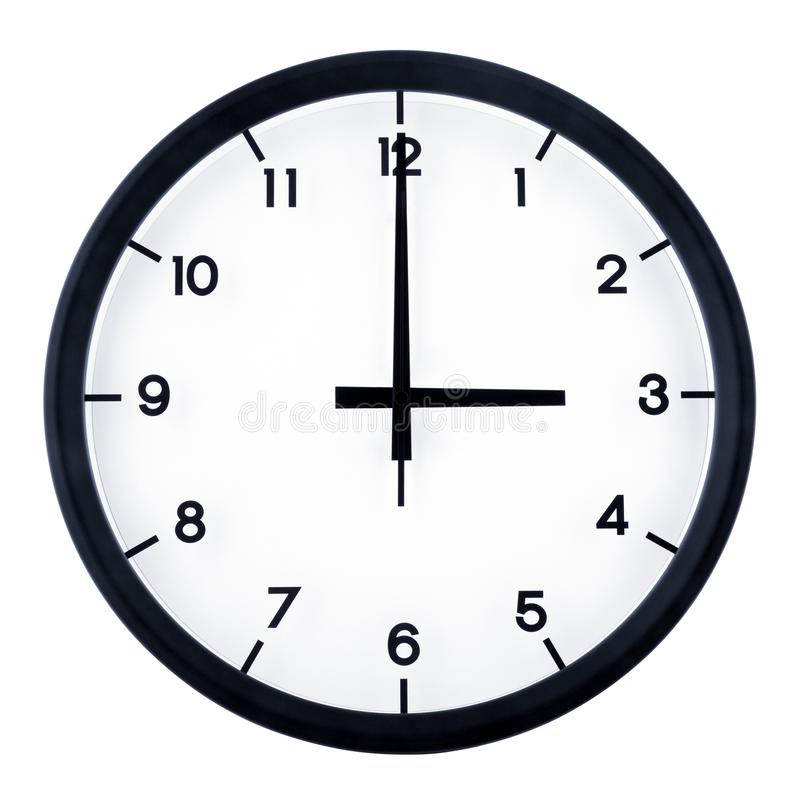 Analog clock. Classic analog clock pointing at 3 o`clock, isolated on white background royalty free stock photography