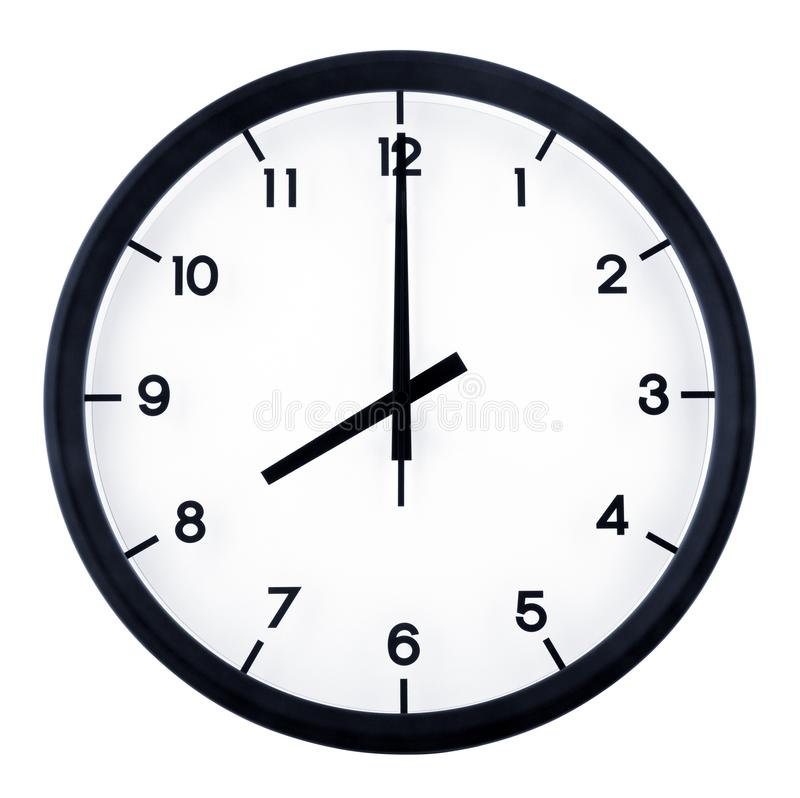 Analog clock. Classic analog clock pointing at 8 o`clock, isolated on white background stock images