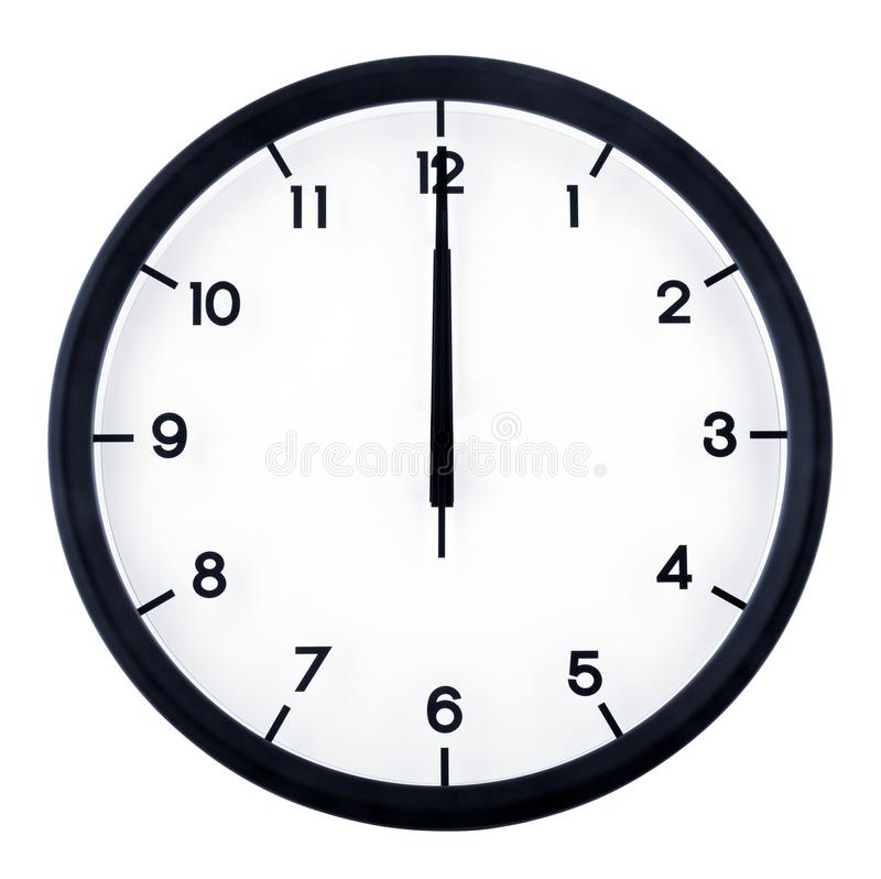 Analog clock. Classic analog clock pointing at 12 o`clock, isolated on white background royalty free stock images