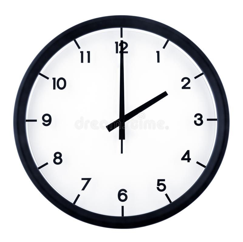 Analog clock. Classic analog clock pointing at 2 o`clock, isolated on white background stock images