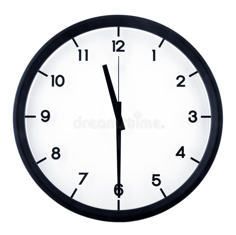 Analog clock. Classic analog clock pointing at 8 o`clock, isolated on white background stock photo