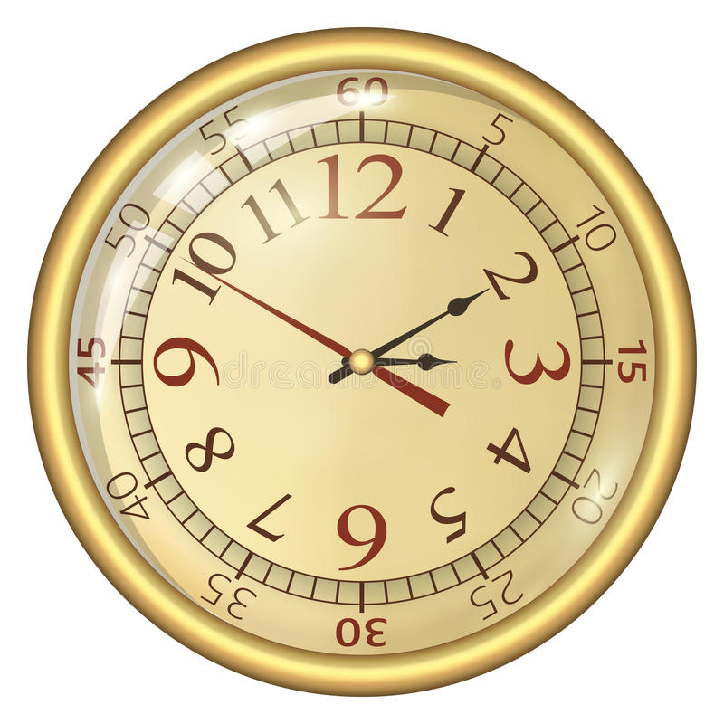 Analog Clock. Isolated on a White Background. Vector Clock with Large Numerals stock photo