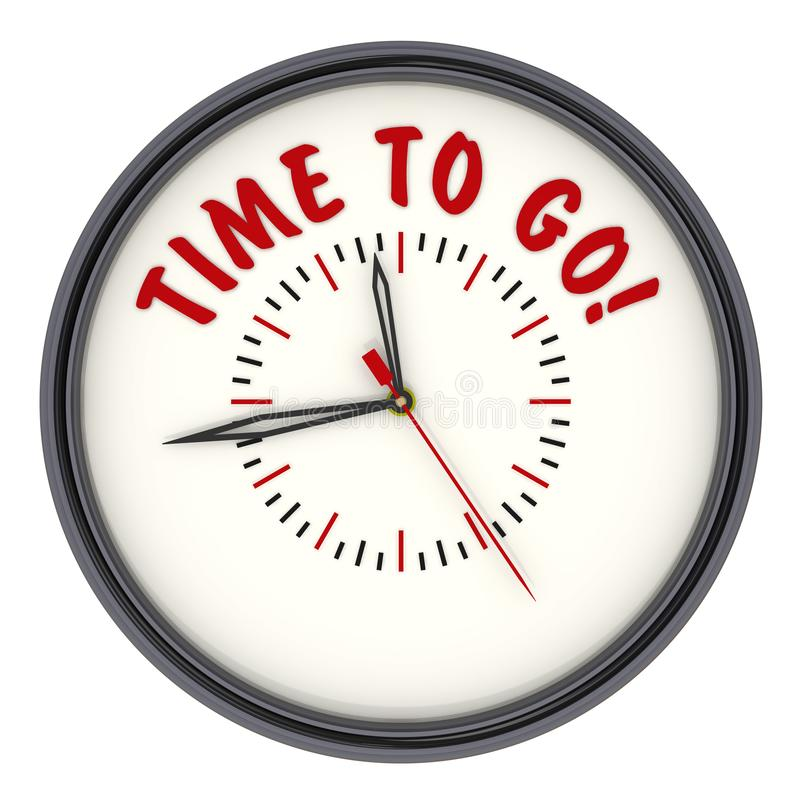 Time to go! Clock with text royalty free illustration