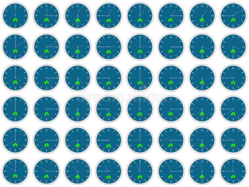 Analog clocks showing time vector illustration