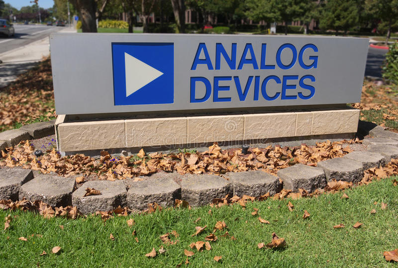 Analog Devices Logo. Fall falls on Analog Devices Analog Devices is a world renowned company in the electronic business royalty free stock photography