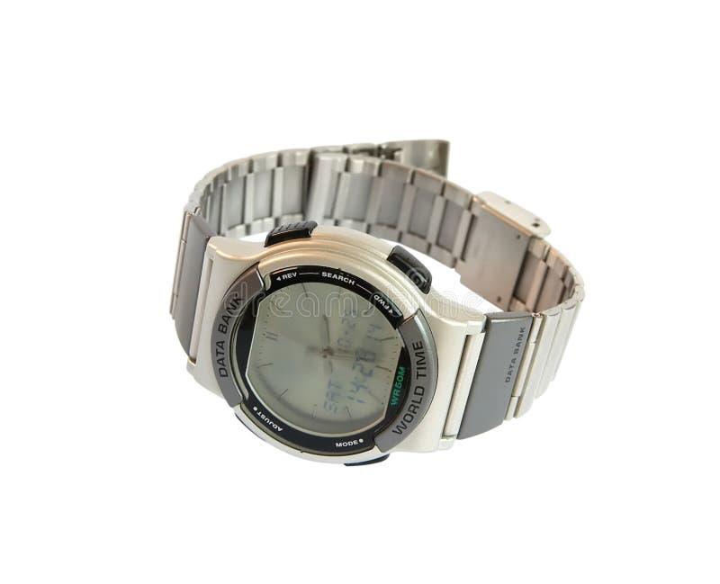 Analog/Digital wristwatch. With databank royalty free stock image