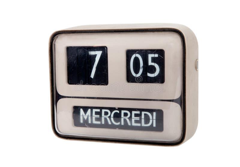 Analog flip clock. On white background royalty free stock photo