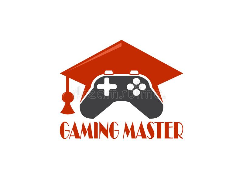 Analog and graduation hat gaming master console gamer symbol vector logo design illustration on white background royalty free stock photos