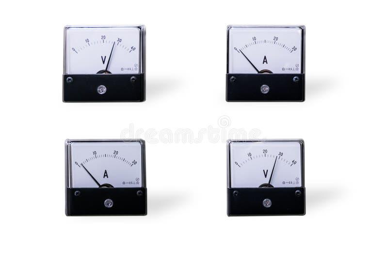 Analog meter. Four analog voltmeter&meter isolated on white background stock photos