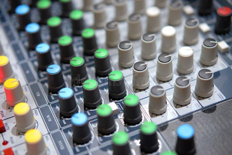Analog mixer in broadcast room. Knob of analog mixer in broadcast room for radio station stock photos