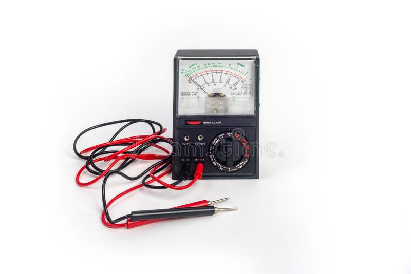 Analog multimeter, that combines several measurement functions in one unit. Vintage model stock image