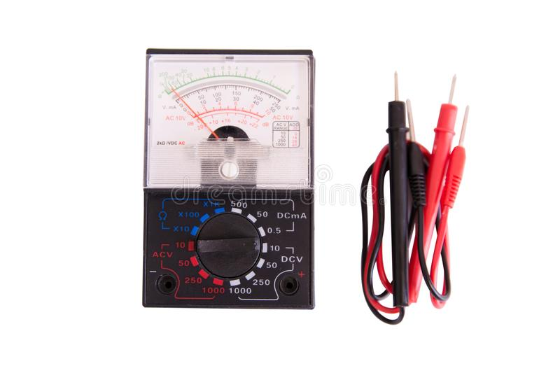analog multimeter isolated on white background with clipping pat stock photo