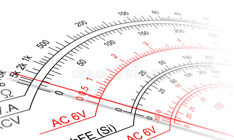 Analog multimeter scale. Abstract view of Analog multimeter scale royalty free stock image