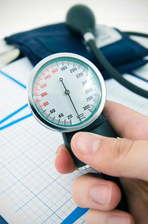 Analog pressure gauge. Medical sphygmomanometer royalty free stock image