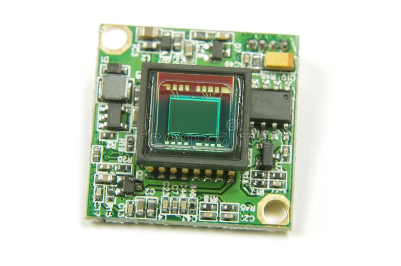 Small CMOS camera sensor inside analog drone FPV camera. Analog signal camera sensor close up of drone first player view camera stock image