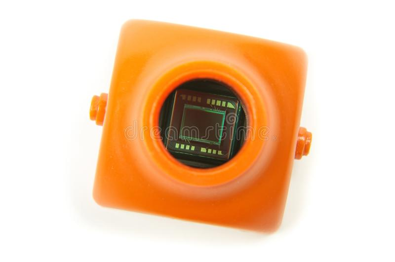 Small CMOS camera sensor inside analog drone FPV camera. Analog signal camera sensor close up of drone first player view camera royalty free stock photo