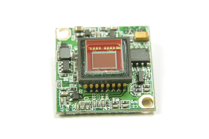 Small CMOS camera sensor inside analog drone FPV camera. Analog signal camera sensor close up of drone first player view camera royalty free stock image